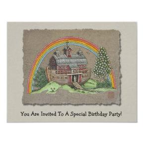 Noah's Ark Barn Invitation