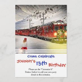 North pole express - christmas train - santa train invitation