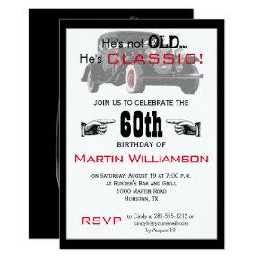 Not Old But Classic Car Birthday Invitation