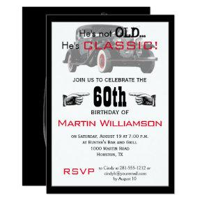 Not Old But Classic Car Funny Birthday Party Invitations