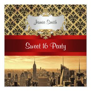 NY City Skyline Sepia B4 Damask Sweet 16 Invite