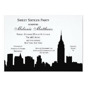 NYC Skyline Silhouette Sweet Sixteen Card