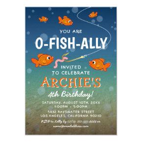 O-Fish-Ally Kids Fishing Themed Birthday Party Invitation