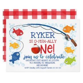 O-fish-ally one bobber birthday invitation