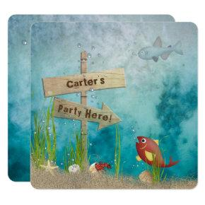 Starfish Party Birthday Invitations Candied Clouds