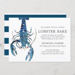 Ocean Blue Lobster Bake Birthday | Striped Invitation
