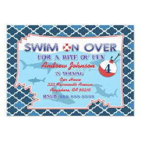 Ocean Fishing Nautical Sharks Birthday Invitations