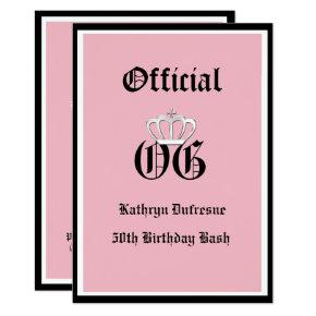 Official OG Birthday Invitation Pink