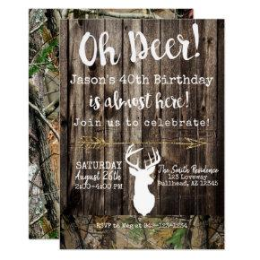 Oh Deer! Men's hunting Camo background Birthday Invitation