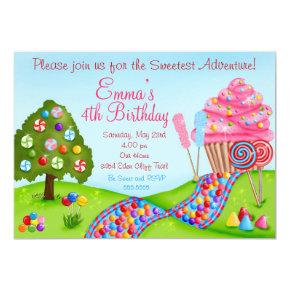 Oh Sweet Candyland Birthday Cupcake Invitations