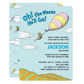 Oh, The Places He'll Go! - First Birthday Invitation