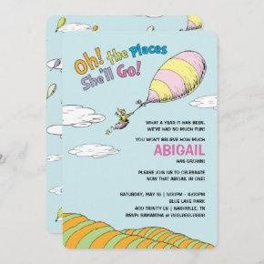 Oh, The Places She'll Go! - First Birthday Invitation