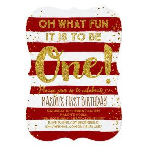 Oh What Fun Christmas 1st Birthday Invitation Red