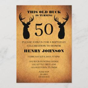 Old Buck 50th Birthday Party Invitation