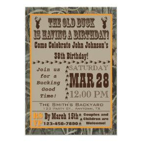 Old Buck Hunting Birthday Invitations with Camo