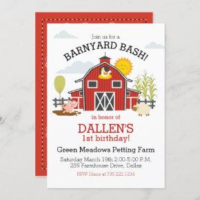 Old Macdonald Farm Barnyard 1st Birthday Party Invitation