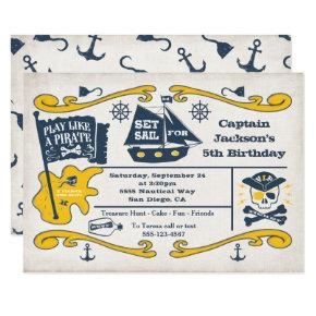 Old Pirate Ticket Nautical Birthday Party Invitation