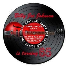 Old Rocker Dude Guitar Record 65th Birthday Party Invitation
