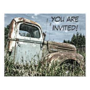 Old Truck Retirement Party Or Milestone Birthday Invitation