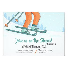 On the Slopes Skiing Invitation