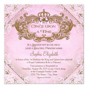Once Upon a Time Princess 1st Birthday Invitations
