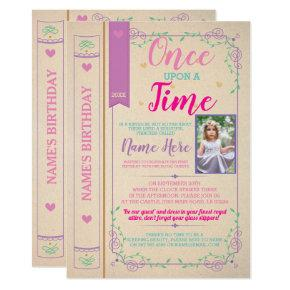 Once Upon A Time Story Tale Book Birthday Photo Invitation