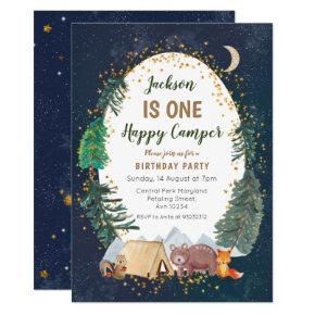 One adventure camper first birthday invitation
