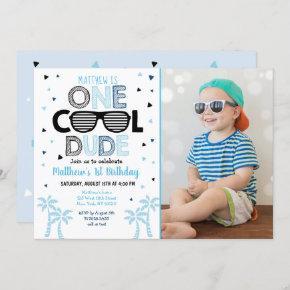 One Cool Dude Sunglass Boy First Birthday Invitati Invitation