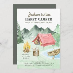 One Happy Camper 1st Birthday Camping Invitation