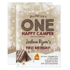 One Happy Camper Birthday Invitations Camping Party