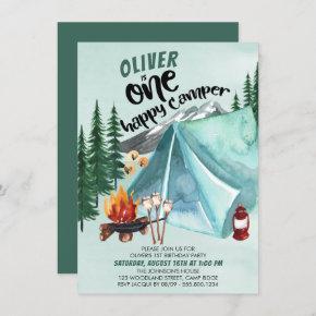 One Happy Camper Boys 1st Birthday Invitation