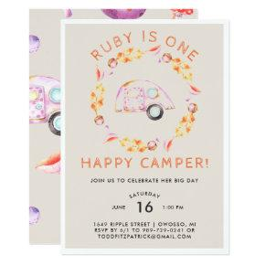 One Happy Camper First Birthday Party Invitations Candied Clouds