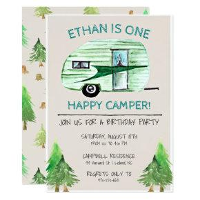 One Happy Camper First Birthday Party Invitations