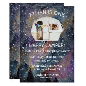 One Happy Camper First Birthday Party Invitation