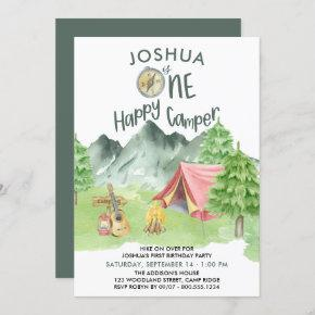 One Happy Camper Watercolor Boys 1st Birthday Invitation