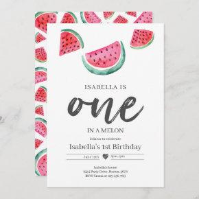 One In A Melon 1st Birthday Watermelon Birthday Invitation