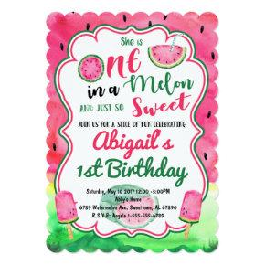 One in a Melon 1st Birthday Watermelon Invitation