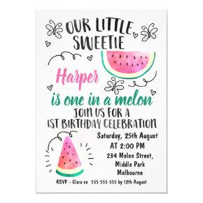One In A Melon Birthday Invitations