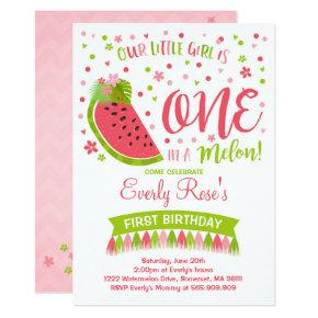 One In A Melon Birthday Invitation Melon Party