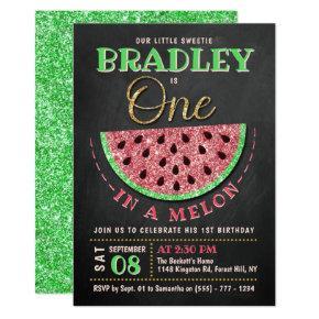 One In A Melon Chalkboard 1st Birthday Invitation