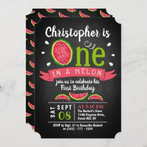 One In A Melon Chalkboard 1st Birthday