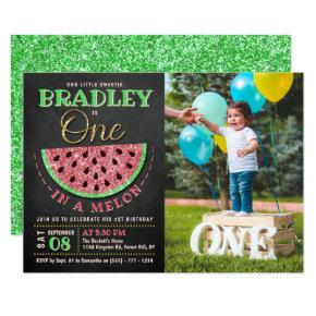 One In A Melon Chalkboard 1st Birthday Photo Invitation