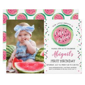 One in a Melon Confetti Photo 1st Birthday Party Invitation