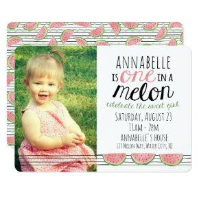 One in a Melon, First Birthday Invitations