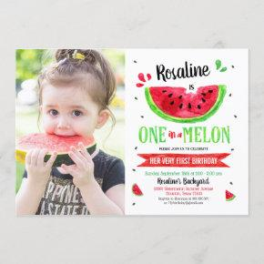 One in a melon First Birthday Photo Invitation