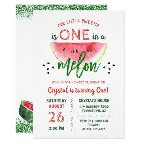 One in a Melon Glitter Watermelon First Birthday Invitation