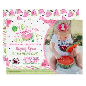 One In a Melon Photo 1st Birthday Invitation