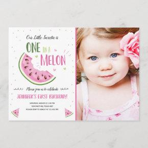 One in a Melon Pink Girl First Birthday Invitation
