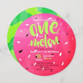 One in a Melon Sweet Summer Watermelon Birthday Invitation