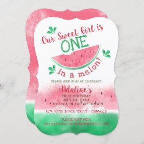 One In A Melon Watercolor First Birthday Invitation
